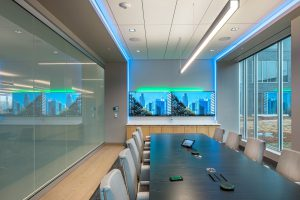 Interior view of a large conference room in the office space at 1201 Cass Street.