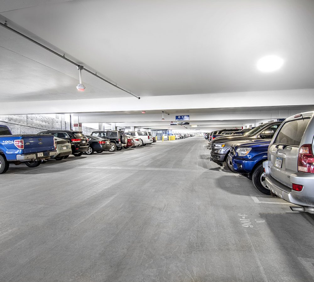 View of the parking stalls at the Eppley Airfield Parking Garage