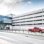 Exterior view of the Eppley Airfield Parking Garage