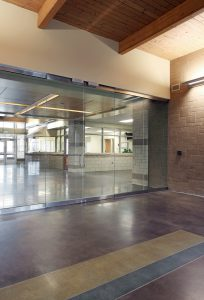 Electronically-secured doors at Saddlebrook Join-Use Facility