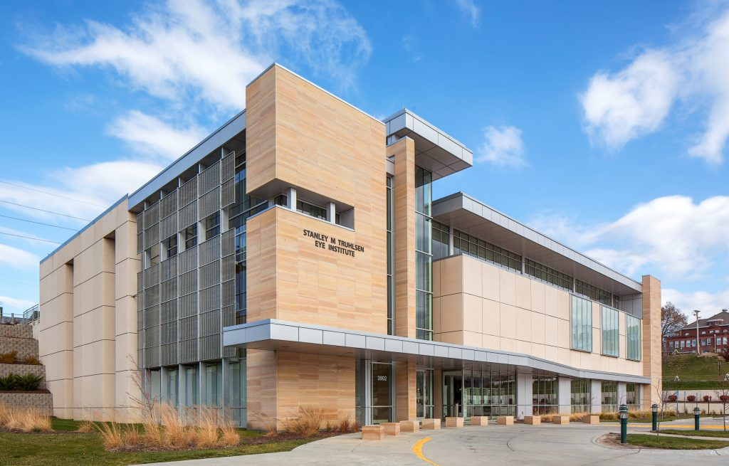 Exterior side view of UNMC's Truhlsen Eye Institute