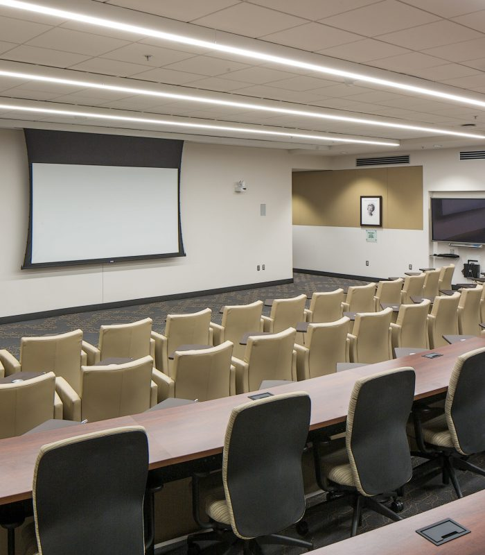 Inside a lecture hall at Truhlsen Eye Institute