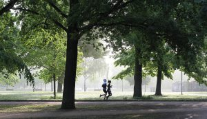 Two runners at the park