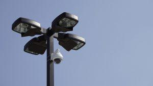 Security camera on a light pole