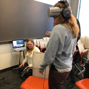Brenna Boyd showcasing acoustical consulting with virtual reality.
