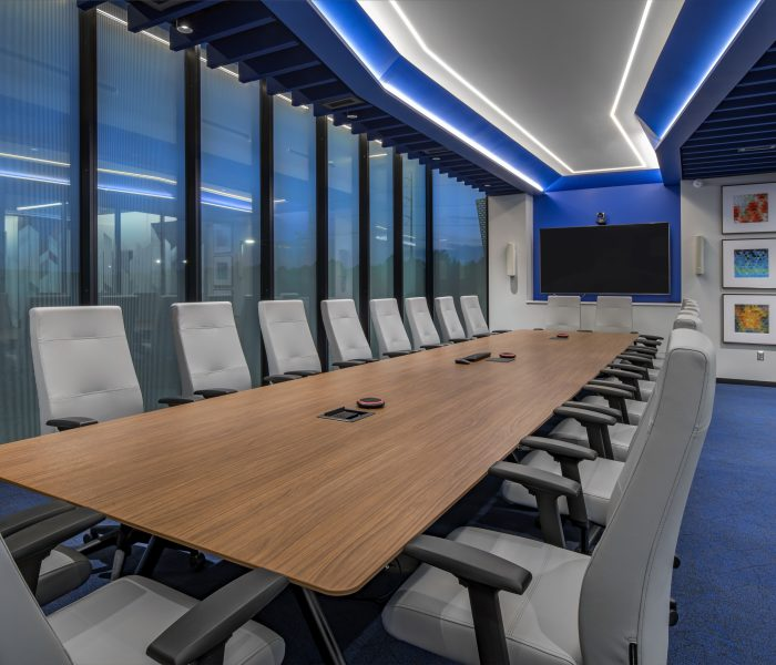 View inside a conference room at the MCL Construction corporate headquarters.