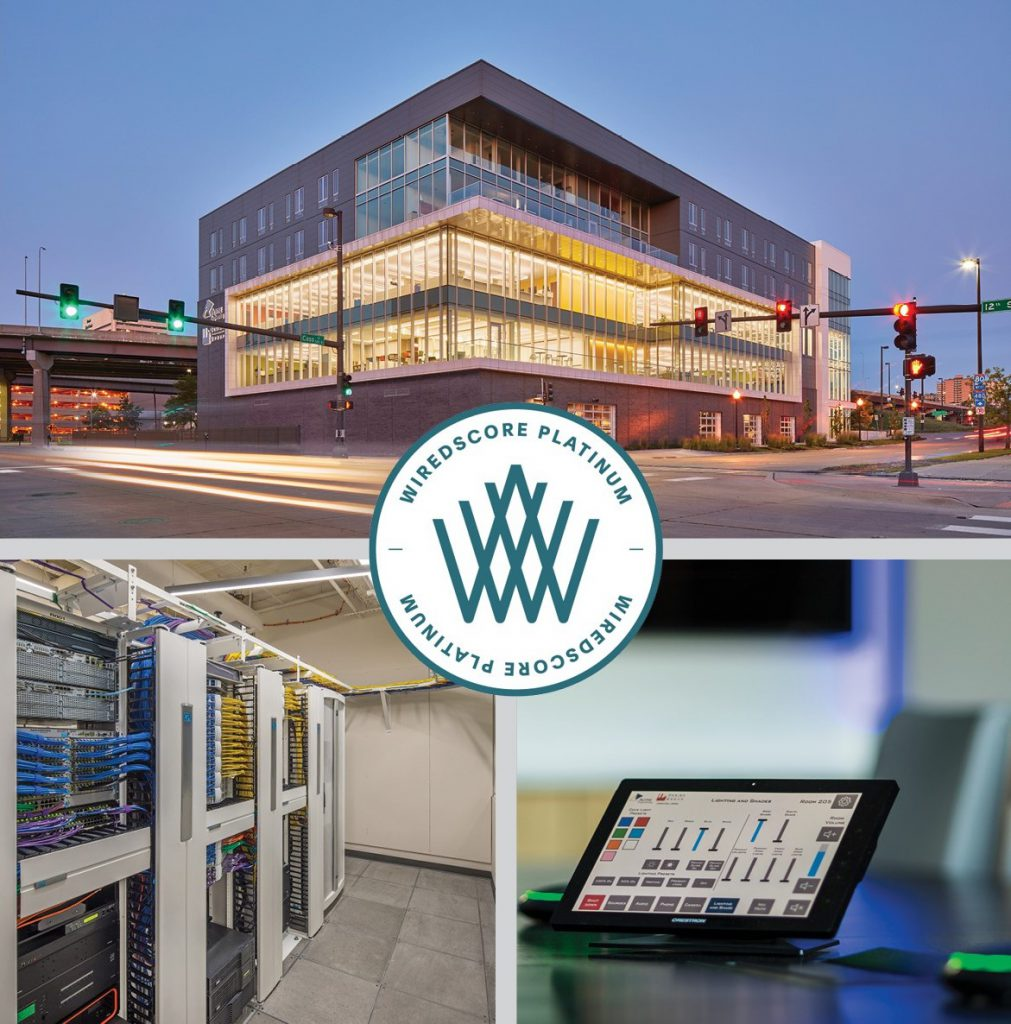 Exterior, telecommunications room and conference room technology inside WiredScore Platinum 1201 Cass