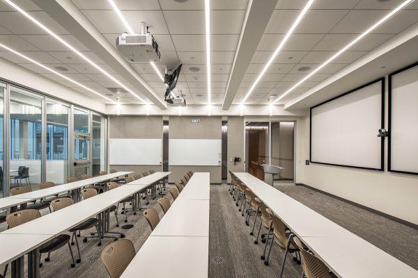 Interior view of the training room inside 1201 Cass Street