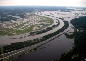 Aerial view of the flooding of the Missouri River near Eppley Airfield in 2011.